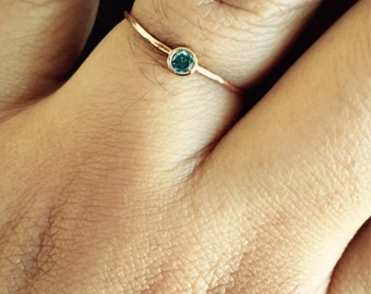 14K Solid Rose Gold Birthstone Ring Stacking Ring
