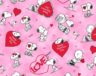 Quilting Treasures - Licensed Peanuts & Studio 8 Love's All Around Pink Peanuts Valentine 23533-P