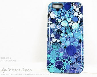 Blue Apple iPhone 6 6s Case- Blue Bubbles - Artistic iPhone 6s Case with Blue, White and Purple Abstract Art - Dual Layer 6s Tough Case