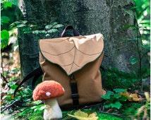 Tan Leaf Mini Backpack, Woman's Rucksack, Waterproof Festival Backpack,Hipster Backpack, Lightweight Rucksack, Cycling Bag, Boho Backpack,