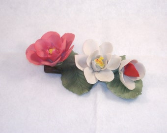 Vintage Capodimonte Roses Spray, Delicate Pink and White Roses with Green Leaves