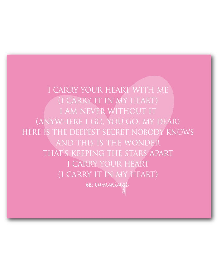 Wall decor i carry you in my heart ee cummings quote for 7p decoration