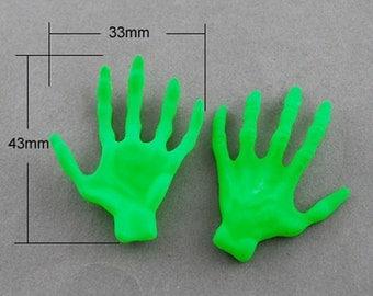 Zombie Hand Embellishments Green Zombie Hand Ogre Creepy Halloween Decorations 20 pieces