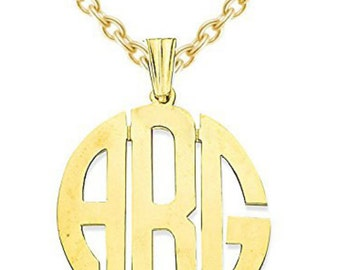 Personalized Monogram Initials Necklace 20MM 14K Yellow or White Gold