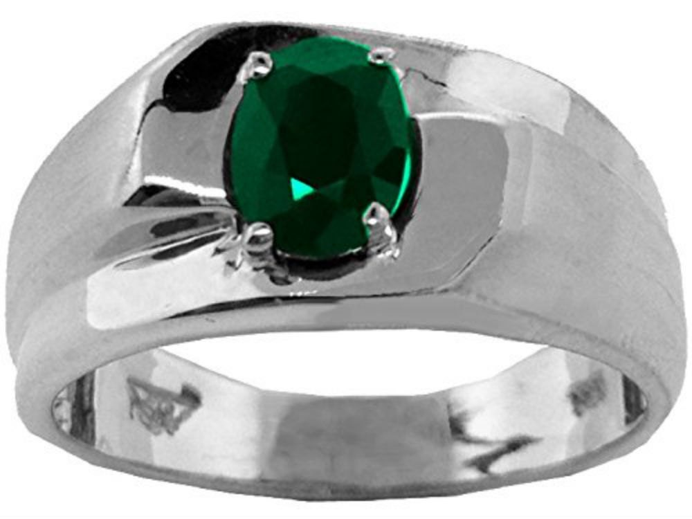 mens ring 1 00 carat genuine emerald ring sterling silver or