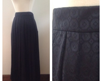 1960s Vintage Black Pleated Gloria Sachs Maxi Skirt