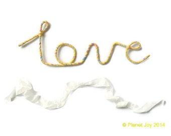 Wire 'love' wrapped in Liberty of London fabric