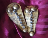 Vintage Hammered Bronze and Rhinestone Dress or Sweater Clips