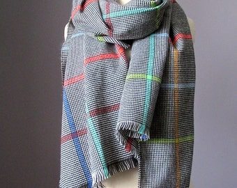 Plaid scarf,  chunky scarf, winter scarf,mens scarf, blanket scarf, oversized scarf
