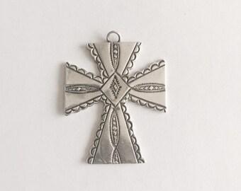 SALE Large Ornate Southwest Sterling Silver Cross Pendant