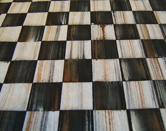 """Light-weight ~ Hand Painted Dragging on Black and White Check FABRIC ~ 42"""" wide ~ 100% cotton ~ Perfect accent to MacKenzie Childs"""