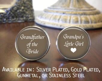 Grandfather of the Bride Cufflinks - Grandfather of the Bride Gift - Wedding Cufflinks - Personalized Cufflinks - Grandpas Little Girl