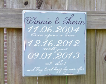 And They Lived Happily Ever After - Important Date Wedding Gift - Engagement Gift - Anniversary Gift - Important Date Custom Wood Sign