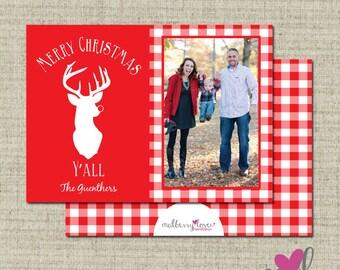 Merry Christmas Y'all- Deer/Plaid/Gingham Christmas/Holiday Photo Card- Printable- Printed