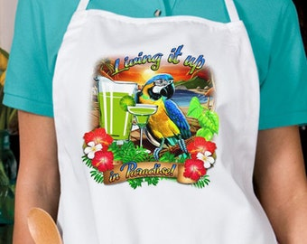 Living It Up Parrot New Apron Cook Beach Events Parties Gifts