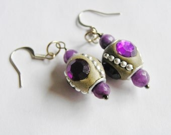 Purple Kashmiri Bead Earrings with Faceted Dyed Purple Quartz Beads