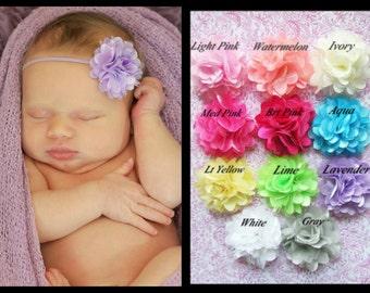 You Pick Color- Baby Headband, Infant Headband, Toddler Headband, Mini Puff Headband on skinny elastic