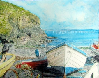 Cadgwith Cove Giclee Print of  Watercolour and Ink Painting on Watercolour Paper