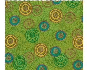 Clothworks Crush Fabric Multicolor Circles on Green Yardage - REDUCED
