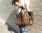 SALE. Double Zipper Bag in Mink