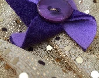 Purple Wool Felt Pinwheel