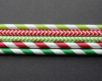 Paper Straws, Christmas Colours, Biodegradable,  Set 25