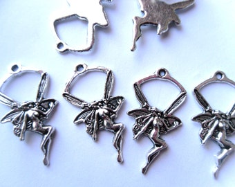 10 Antique Silver Fairy Charms 27x14mm     -A4A1-1