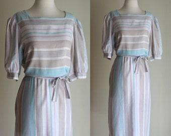 SALE: Vintage 80s Pastel Striped Dress - Sheer Knee Length White Dress with Elastic Waist Tie Belt - Size Large / XL Extra Large