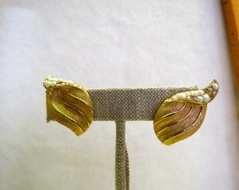 """Vintage Gold Leaf with tiny pearls Trifari Clip-on Earrings about 1"""" X 3/4""""."""