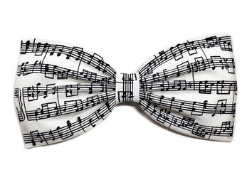 Symphony of Style Hair Bow- Music Notes Print-Headband, Alligator Clip, Or Barrette