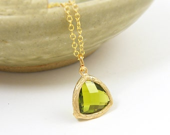 Peridot Green Pendant Necklace, Peridot Triangle Necklace, Olive Green Drop Charm Necklace with 18 or 20 Inch Gold Chain |PJ1-1
