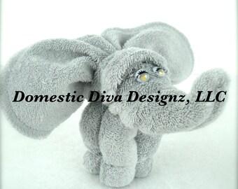 Baby Washcloth Gray Elephant Favor, Diaper Cake, Safari Baby Shower Favors Washcloth Animals