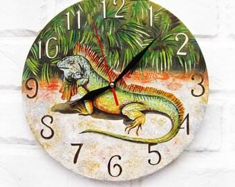 The Iguana Wall Clock OOAK Home Decor for Children Baby Kid Boy Girl Nursery Playroom