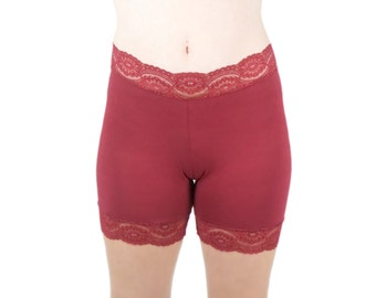 Lace Biker Shorts Half Slip Underpants Dark Red Lingerie