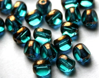 8 mm Teal and Bronze 3-Cut Glass Beads