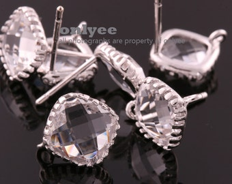 2pcs/1 pair-9mmX9mmRhodium plated faceted Square glass post earrings-Clear(M354S-F)