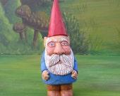 Garden Gnome, Wood Gnome, Hand Carved Gnome, Handmade, Figurine