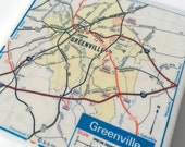 1980 Greenville South Carolina Handmade Map Coaster - Ceramic Tile Coaster - Repurposed 1980 Exxon Map - OOAK Coasters