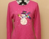 Pink Christmas Sweater Light Weight Xmas Shirt Sequins Snowman Size Large