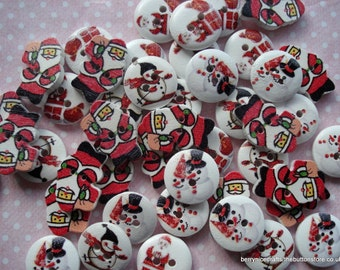 15mm Mixed Christmas Buttons Pack of 50 Red White Christmas Buttons CR12