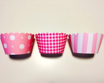 Pink Polka-Dots Cupcake Wrappers: Pink Party Decoration