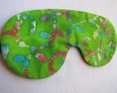 Green Colorful Batik Sleep Mask, Adjustable Sleeping Mask, Sleeping Blindfold
