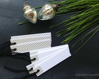 white and silver gift tags - holiday gift tags - silver striped washi tape - set of 20