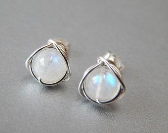 Rainbow Moonstone Stud Earrings, Genuine Moonstone Earrings, June Birthstone, Birthstone Jewellery, Moonstone Jewellery, Gift Ideas