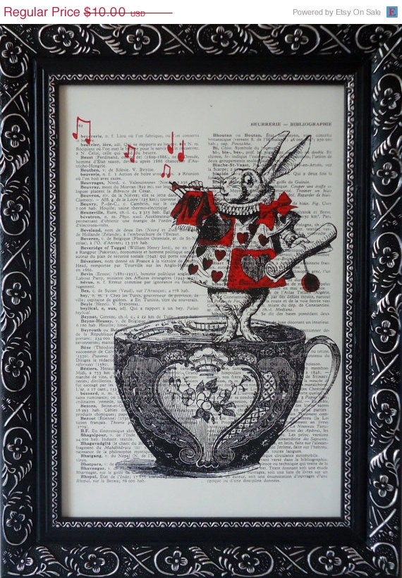 ALICE In WONDERLAND Decorations Print On An Vintage Dictionary Page