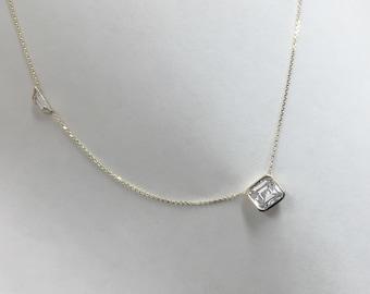 Asscher cut and trapezoid diamond necklace