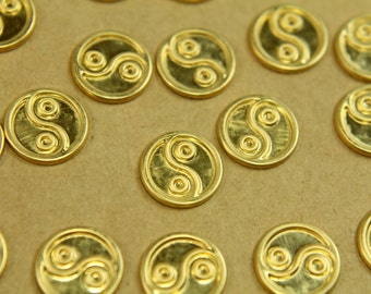 18 pc. Small Raw Brass Yin Yang Stampings: 11mm in diameter - made in USA | RB-443