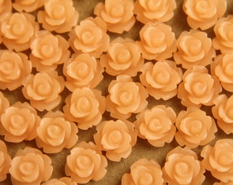 30 pc. Frosted Peach Cream Rose Cabochon 10mm | RES-468