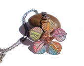 FLOWER PENDANT Necklace butterfly Silver rainbow gift colorful jewelry woman love