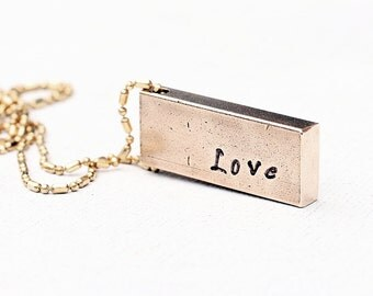 Love Gold Bar Raw Brass Necklace | Rustic Hand Stamped Jewelry Long Layering Necklace | Amour Suite Collection